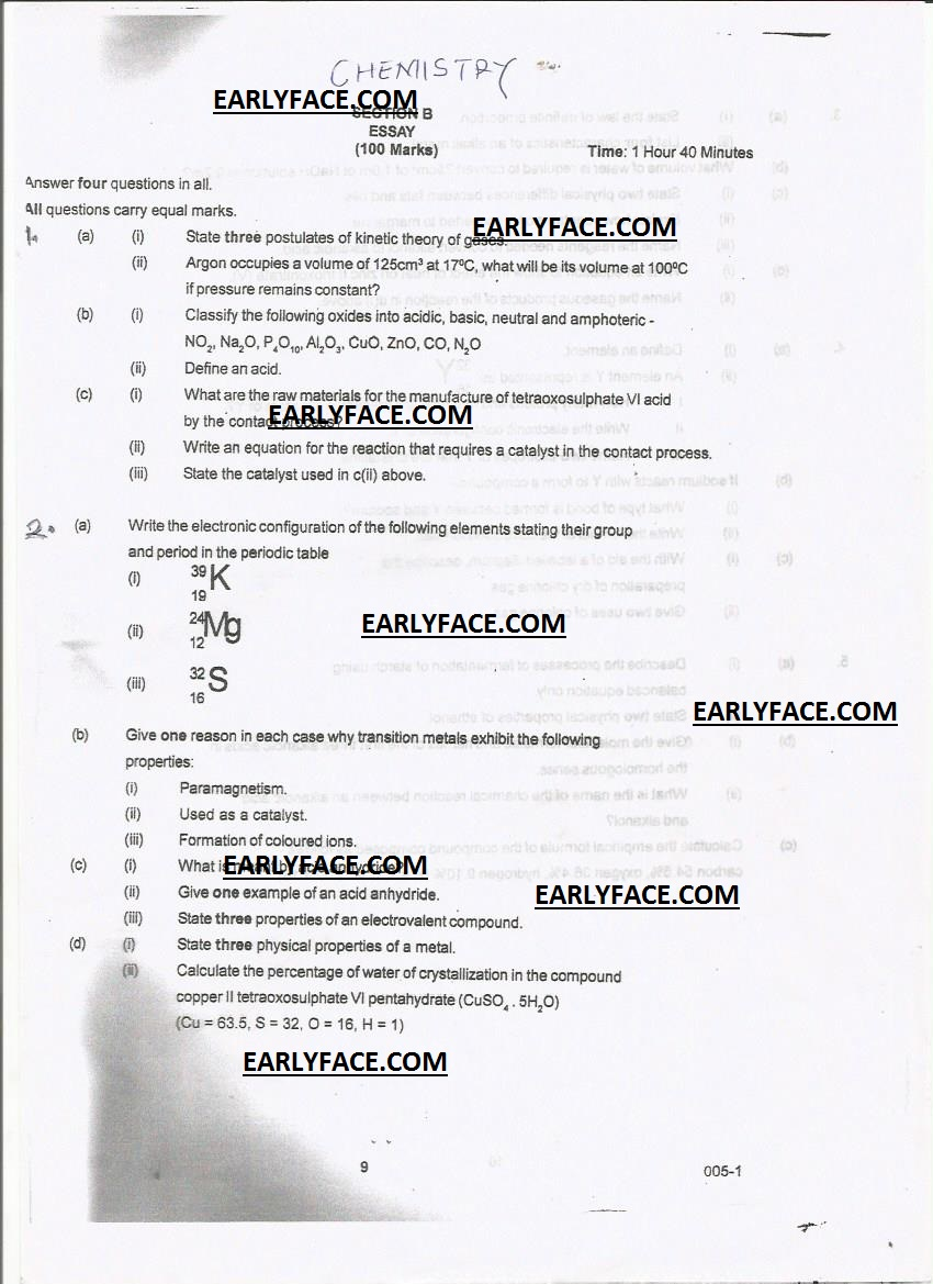 neco 2014 expro chemistry objective and essay answers